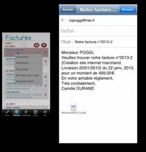 Envoi d'une copie de facture au client avec l'appli dux-facti, depuis son mobile ou sa tablette.